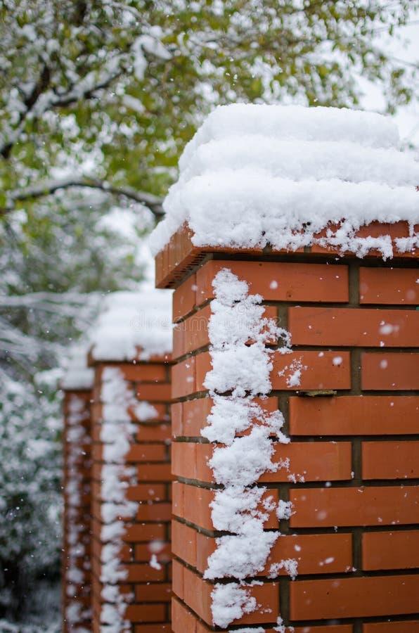 barri?re de Brique-fer couverte de neige dans le secteur priv? pendant les chutes de neige en hiver Vue verticale photos stock