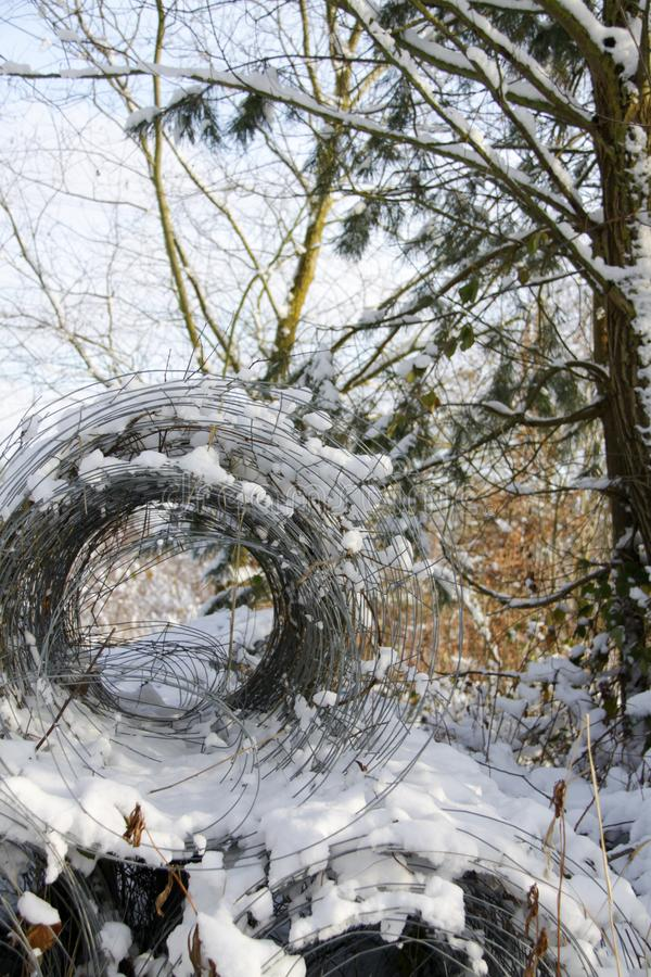 barrière de Chaîne-lien dans la forêt images libres de droits