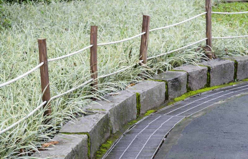Barri re de corde et en bois pr s du jardin image stock for Barriere jardin bois