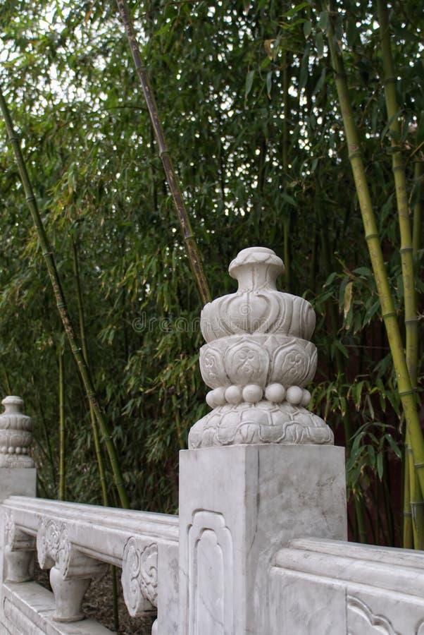 Barrière de marbre antique le long des chemins à feuilles persistantes dans une forêt en bambou en parc de Jingshan photographie stock