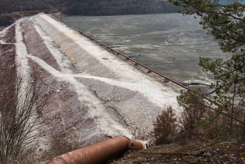 Barrière de rebut de lac Résiduels souillés d'exploitation de mine images libres de droits