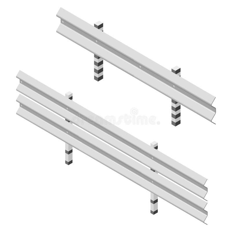 Barrière de route en métal isométrique, illustration de vecteur illustration stock