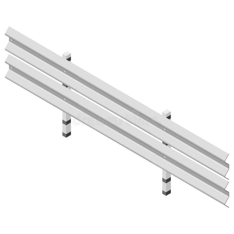 Barrière de route en métal isométrique, illustration de vecteur illustration libre de droits