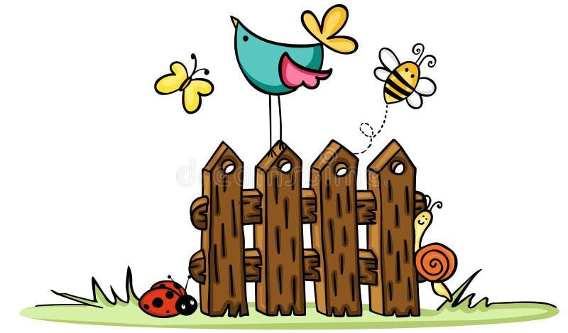 Barrière en bois avec l'oiseau et les insectes illustration libre de droits