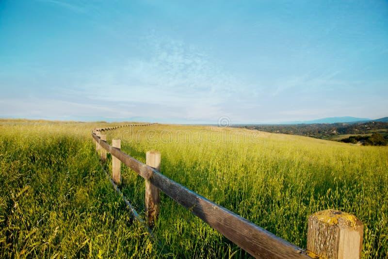Barrière en bois dans un domaine d'herbe contre un ciel bleu photo stock
