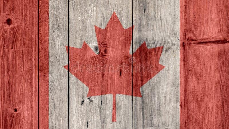 Barrière en bois de drapeau du Canada photographie stock