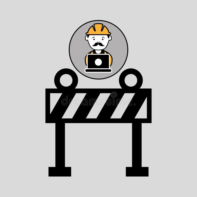 Barrière en construction de travailleur d'ordinateur portable illustration stock