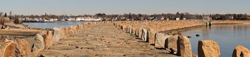 Barrière nouveau Bedford Massachusetts d'ouragan de panorama images libres de droits
