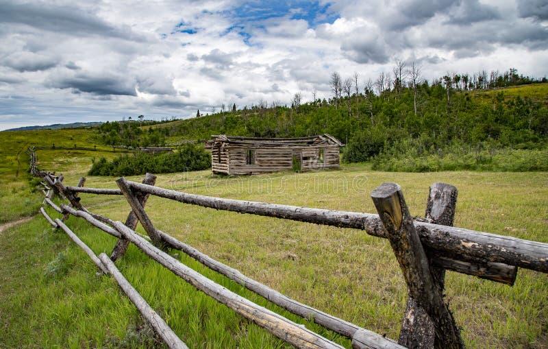 Barrière rustique au Wyoming photographie stock