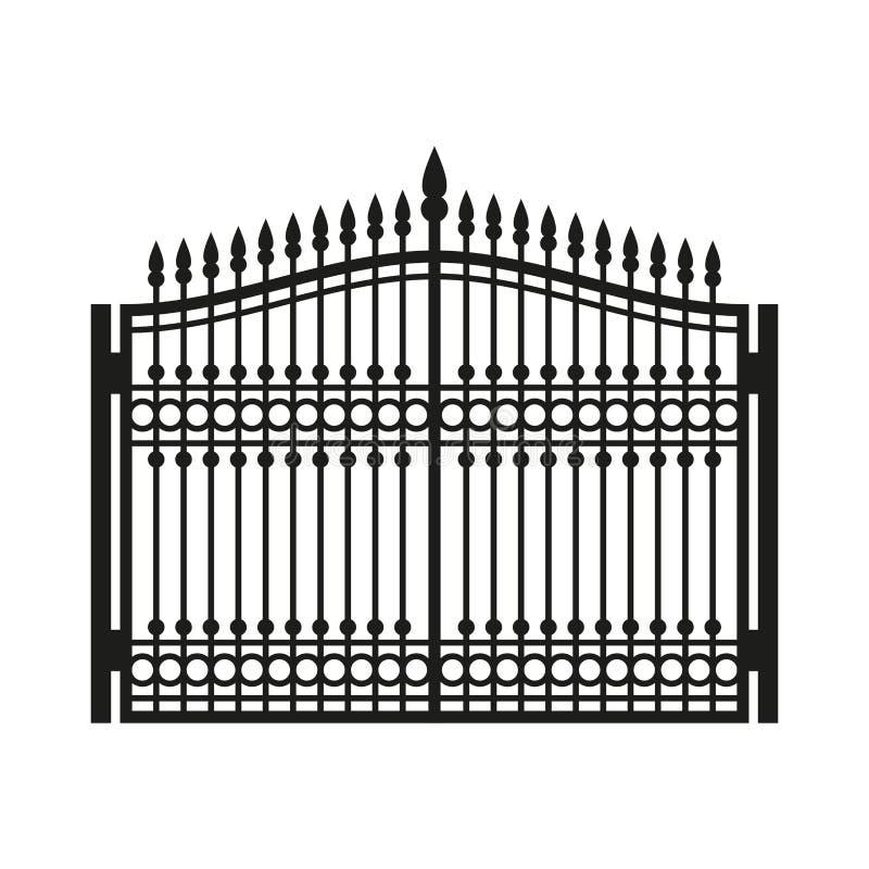 Barrière Wrought Iron Gate Porte de style ancien Vecteur illustration stock
