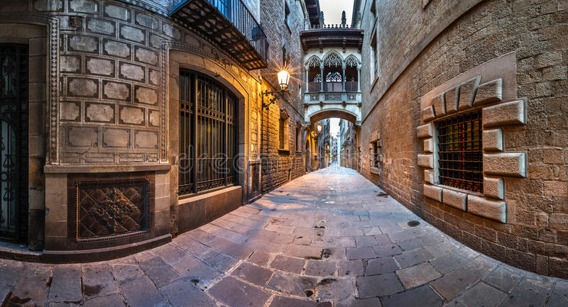 Barri Gothic Quarter and Bridge of Sighs in Barcelona, Catalonia stock image