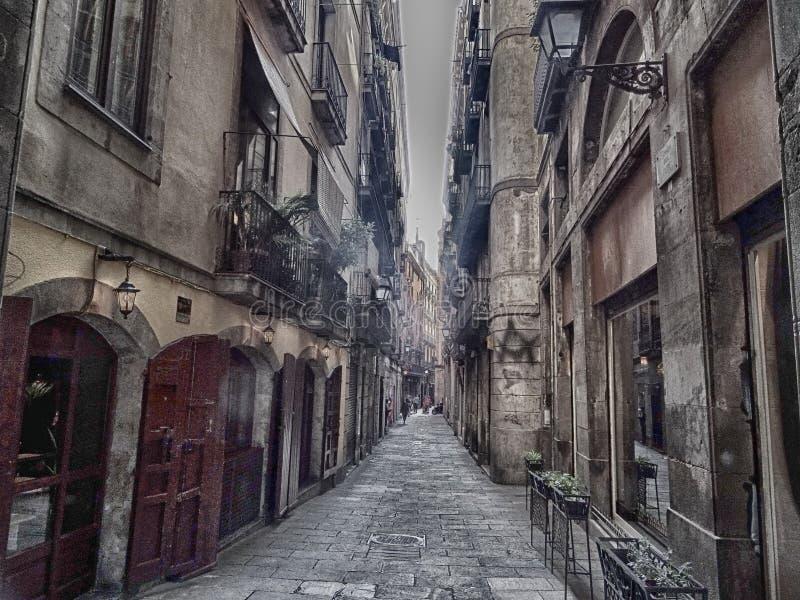Barri Gothic Quarter en Barcelona fotografía de archivo