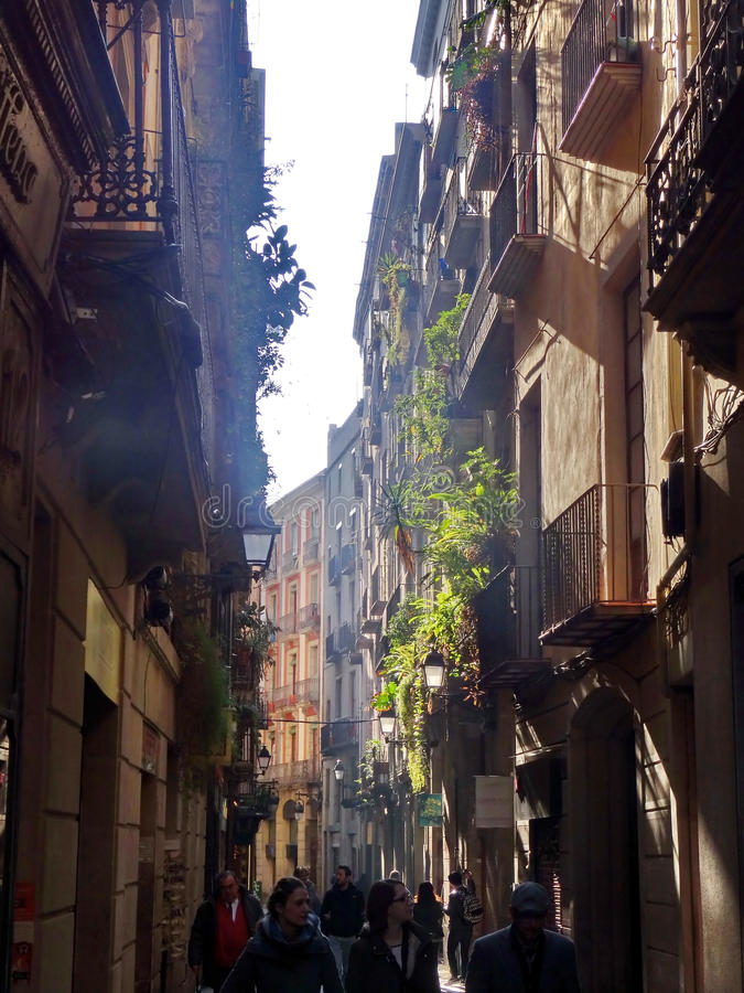 Barri Gothic Quarter en Barcelona foto de archivo