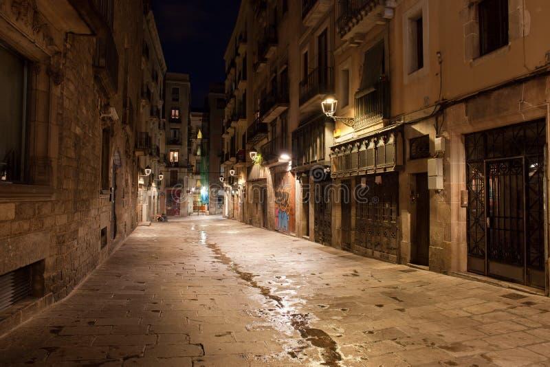 Barri Gotic nachts in Barcelona stockfotografie