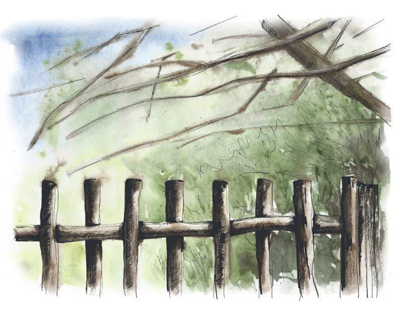 Barri?re en bois rustique Fond d'image photo stock