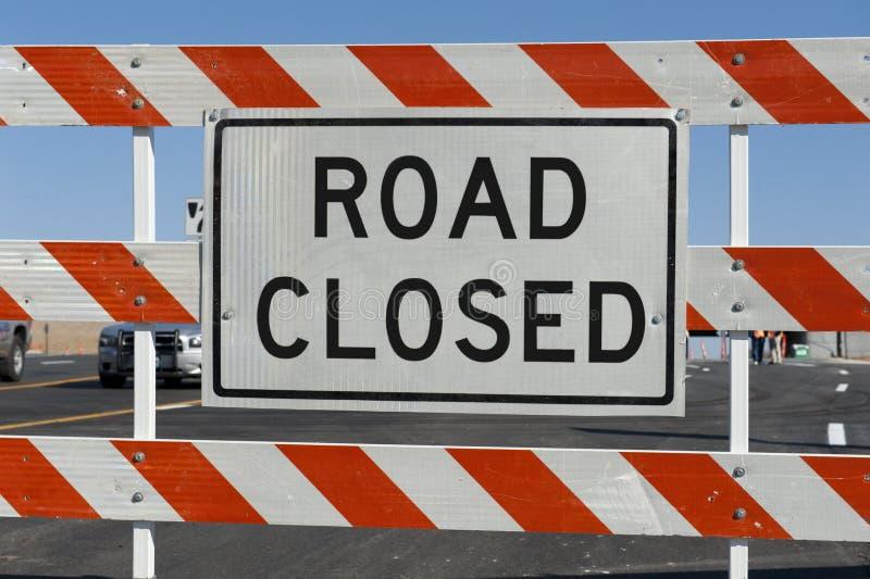 Barricada fechada estrada fotografia de stock