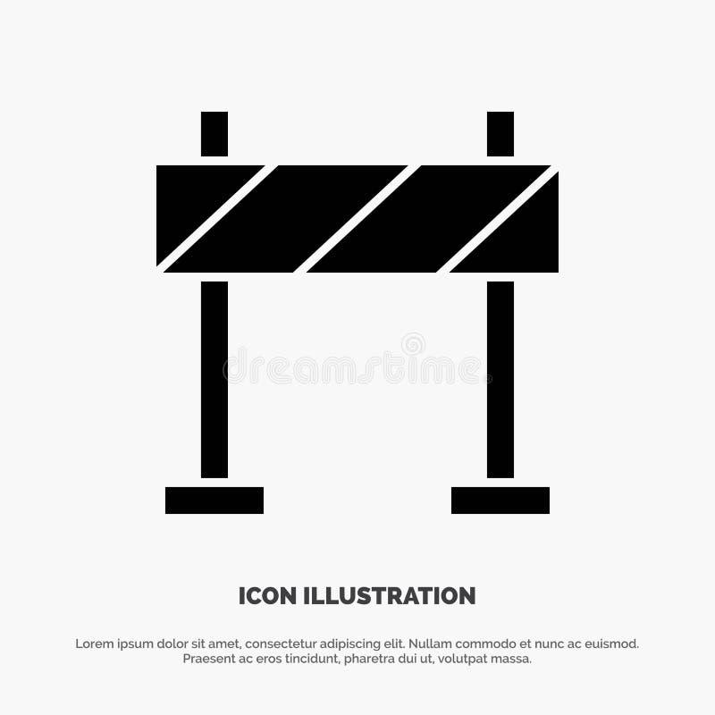 Barricade, barrière, vecteur solide d'icône de Glyph de construction illustration stock