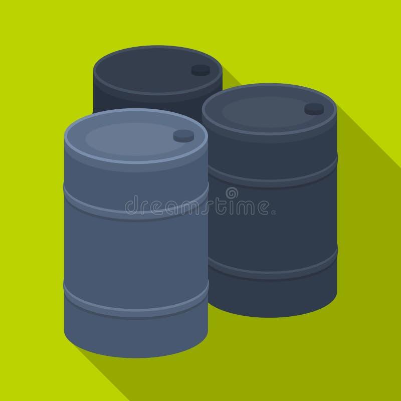 Barricade des barils vides Icône simple de Paintball en Web plat d'illustration d'actions de symbole de vecteur de style illustration stock
