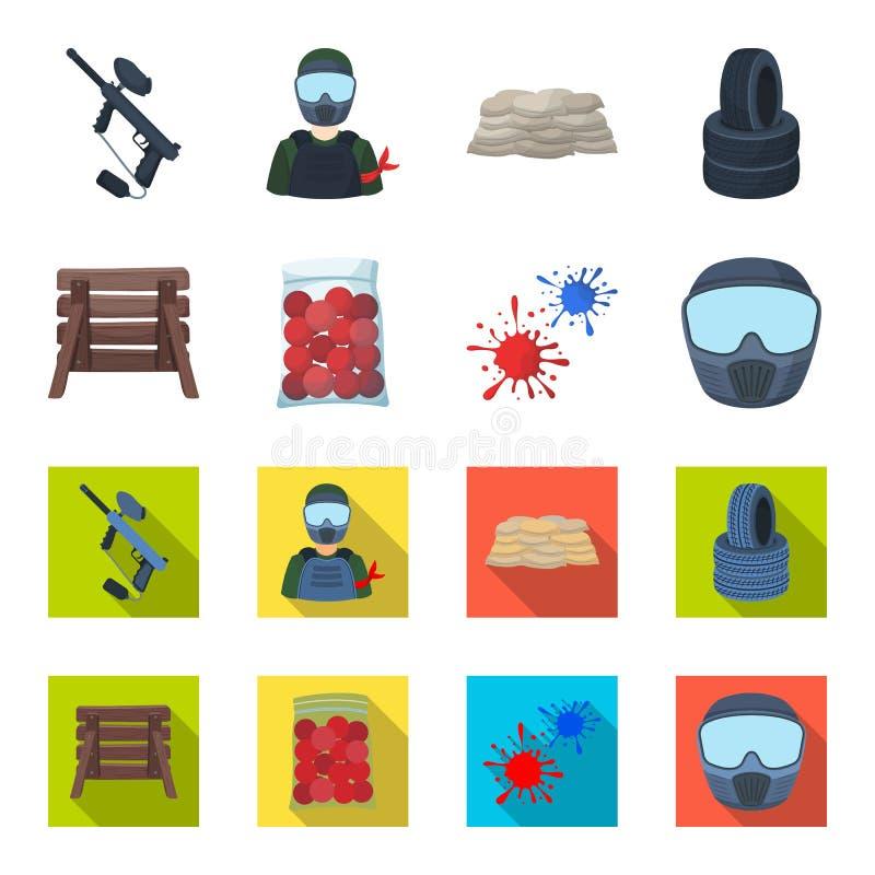 Barricade en bois, masque protecteur et d'autres accessoires Icône simple de Paintball dans la bande dessinée, actions plates de  illustration stock