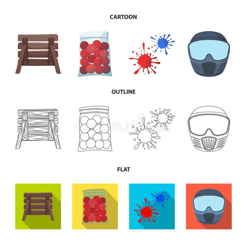 Barricade en bois, masque protecteur et d'autres accessoires Icône simple de Paintball dans la bande dessinée, contour, vecteur p illustration de vecteur