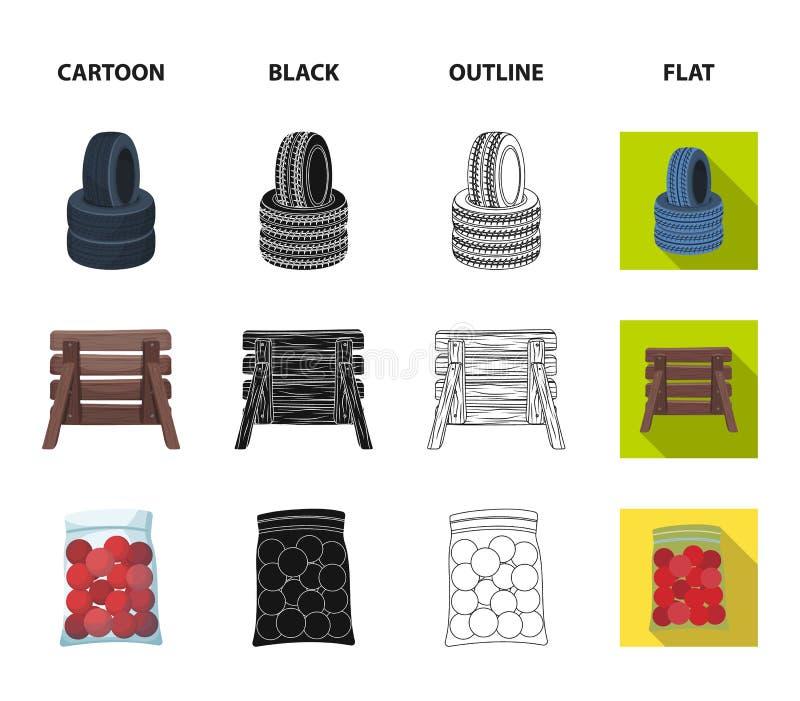 Barricade en bois, masque protecteur et d'autres accessoires Icône simple de Paintball dans la bande dessinée, noir, contour, sty illustration de vecteur