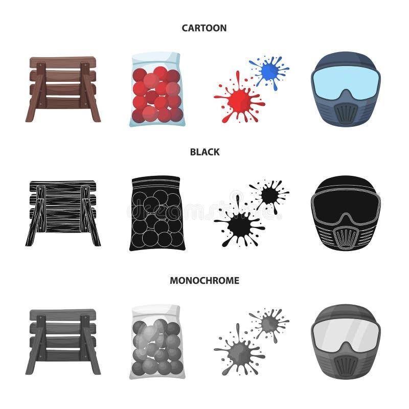 Barricade en bois, masque protecteur et d'autres accessoires Icône simple de Paintball dans la bande dessinée, noir, vecteur mono illustration libre de droits