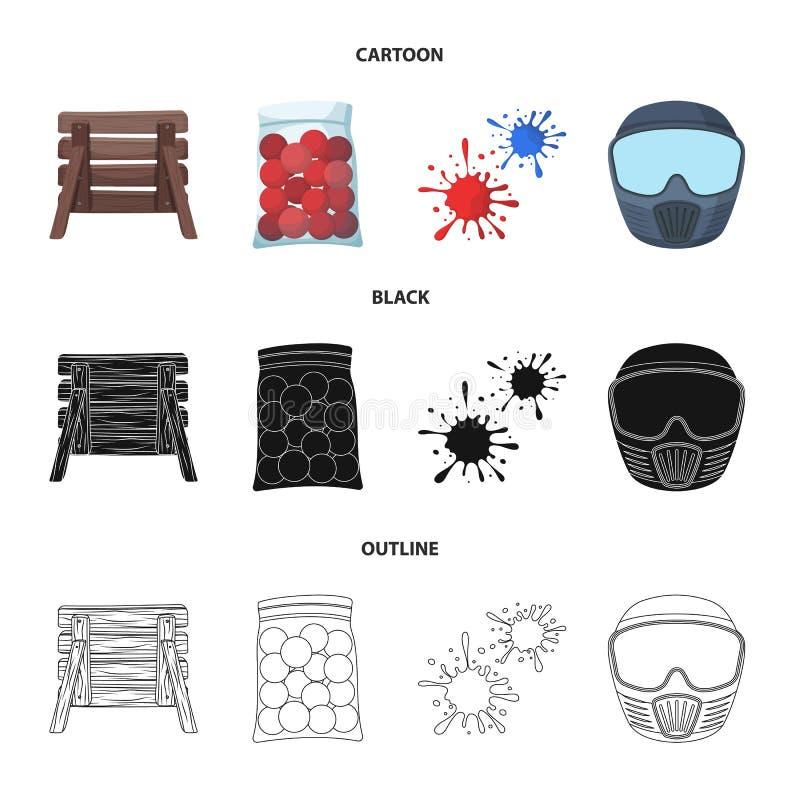 Barricade en bois, masque protecteur et d'autres accessoires Icône simple de Paintball dans la bande dessinée, noir, vecteur de s illustration stock