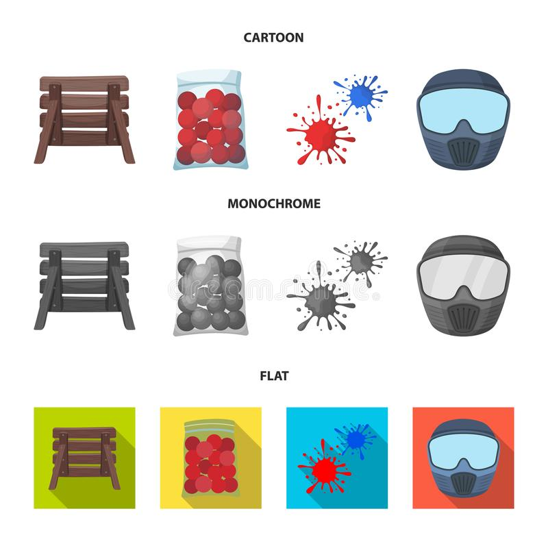 Barricade en bois, masque protecteur et d'autres accessoires Icône simple de Paintball dans la bande dessinée, vecteur plat et mo illustration stock