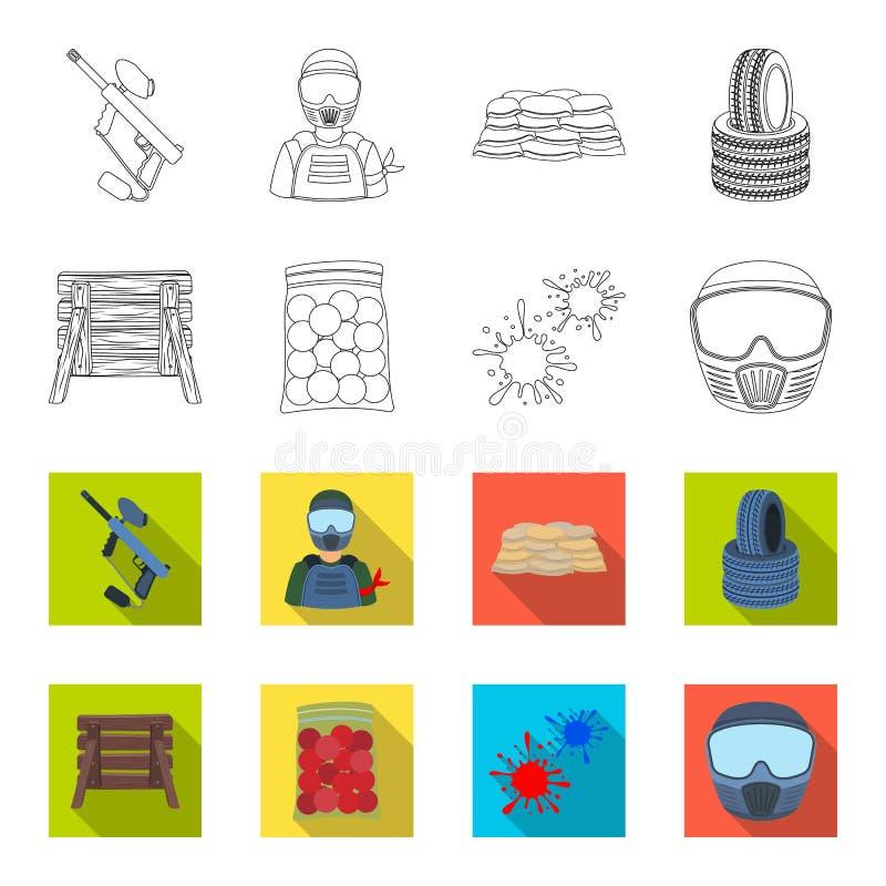 Barricade en bois, masque protecteur et d'autres accessoires Icône simple de Paintball dans le contour, actions plates de symbole illustration stock