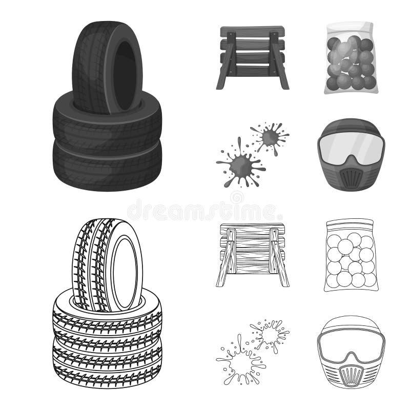Barricade en bois, masque protecteur et d'autres accessoires Icône simple de Paintball dans le contour, symbole monochrome de vec illustration stock