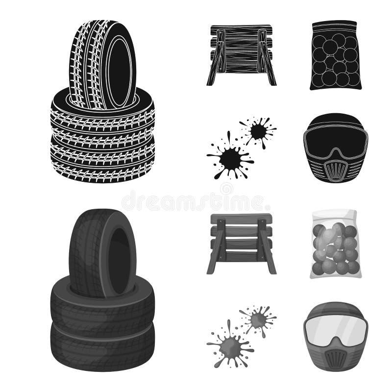 Barricade en bois, masque protecteur et d'autres accessoires Icône simple de Paintball dans le noir, symbole de vecteur de style  illustration libre de droits