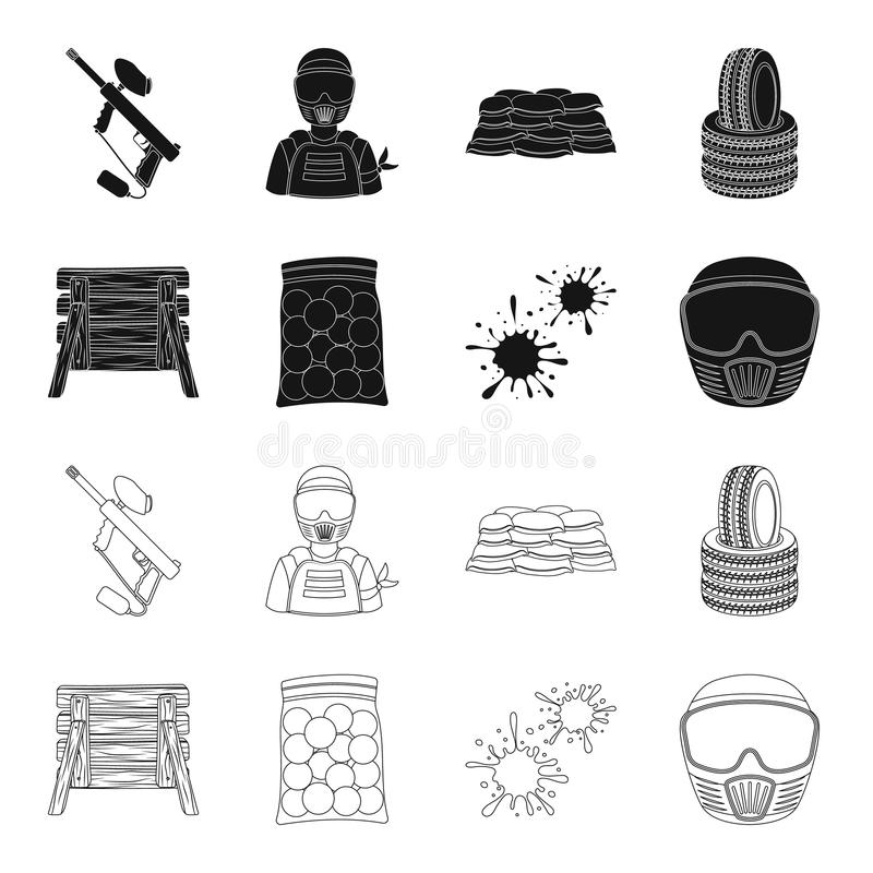 Barricade en bois, masque protecteur et d'autres accessoires Icône simple de Paintball dans le noir, symbole de vecteur de style  illustration stock
