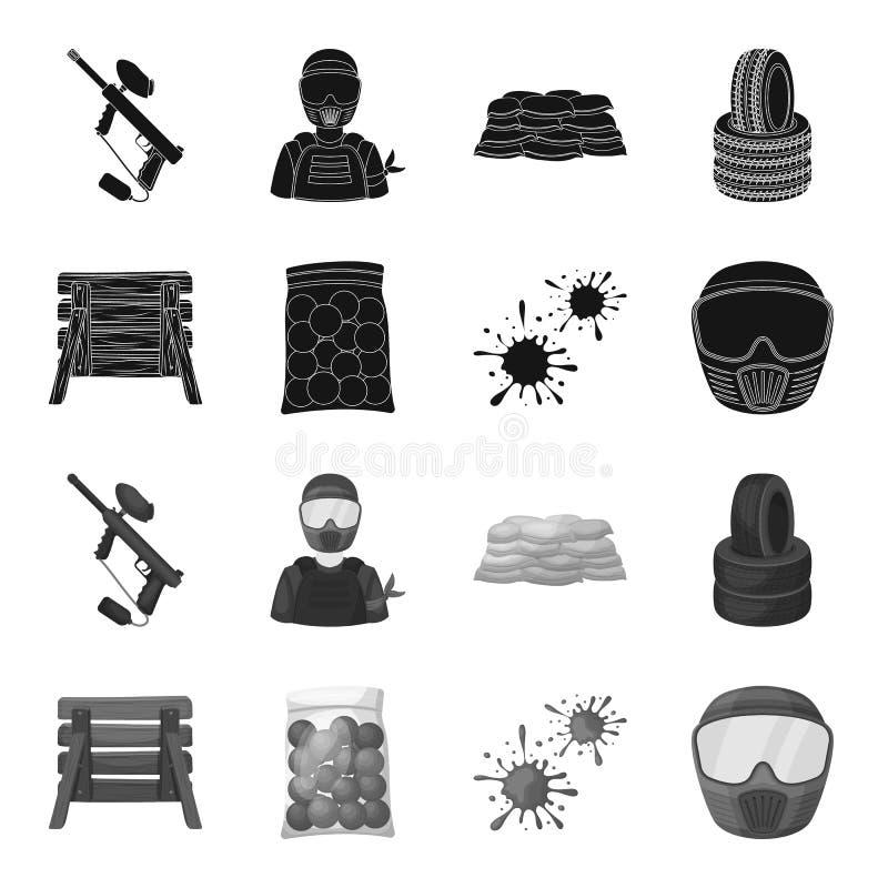 Barricade en bois, masque protecteur et d'autres accessoires Icône simple de Paintball dans le symbole noir et monochrome de vect illustration de vecteur
