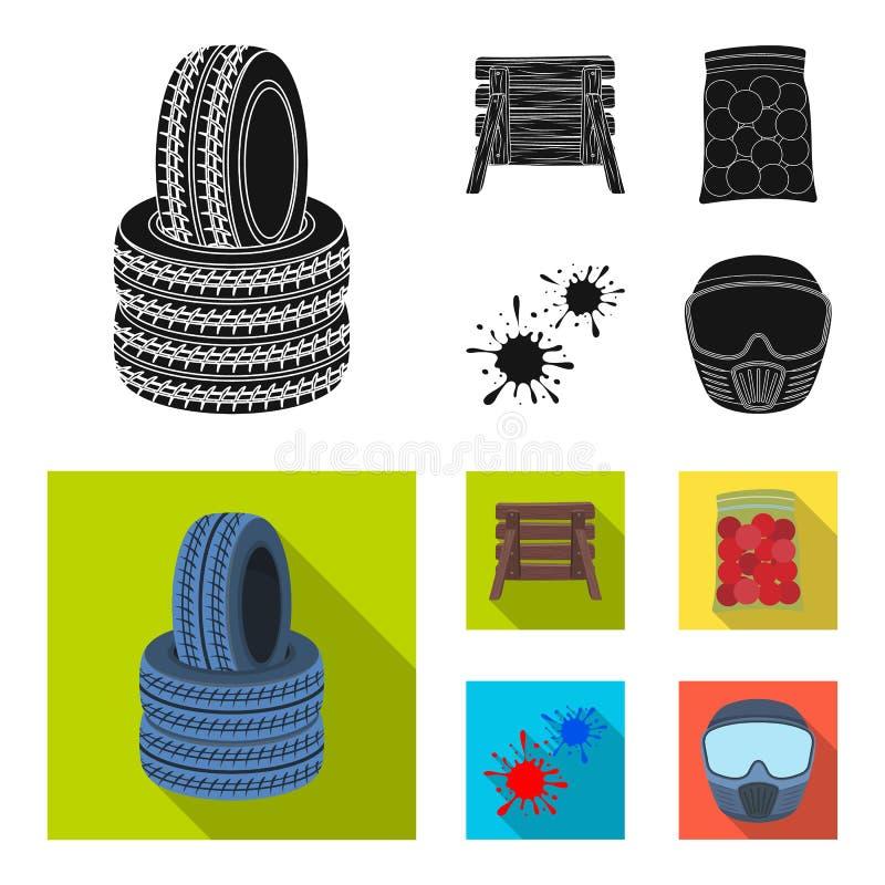 Barricade en bois, masque protecteur et d'autres accessoires Icône simple de Paintball en stock noir et plat de symbole de vecteu illustration stock
