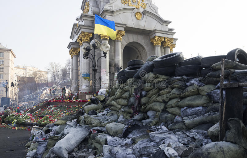 Barricade on Euromaidan near the Monument of Independence stock photography