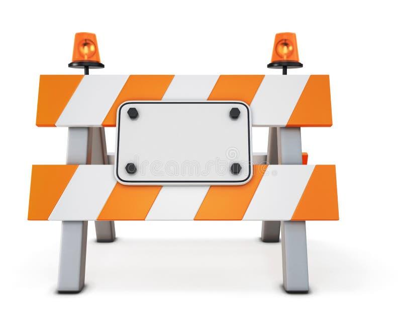 Barricade fermée par route d'isolement illustration stock