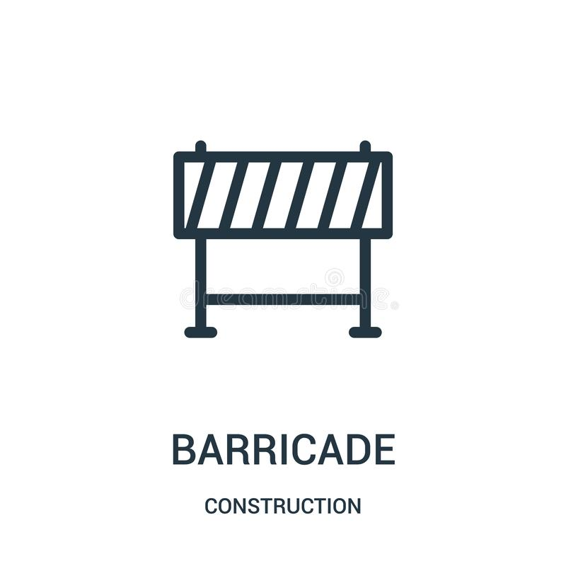 barricade icon vector from construction collection. Thin line barricade outline icon vector illustration royalty free illustration