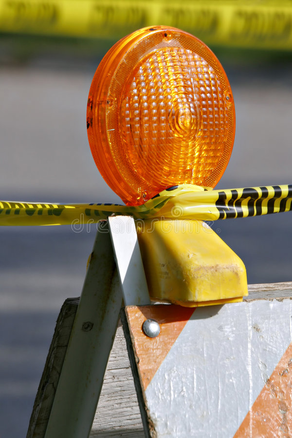 Barricade Light. Barricade and Warning Light Closeup stock images