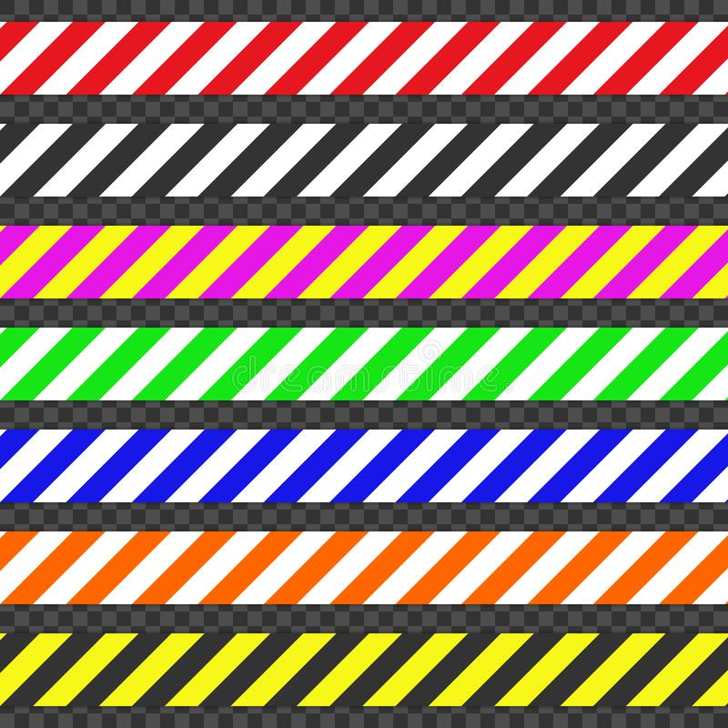 Barricade tapes. Set of tapes for warn or catch the attention. Tapes containing a possible hazard. Vector illustration vector illustration