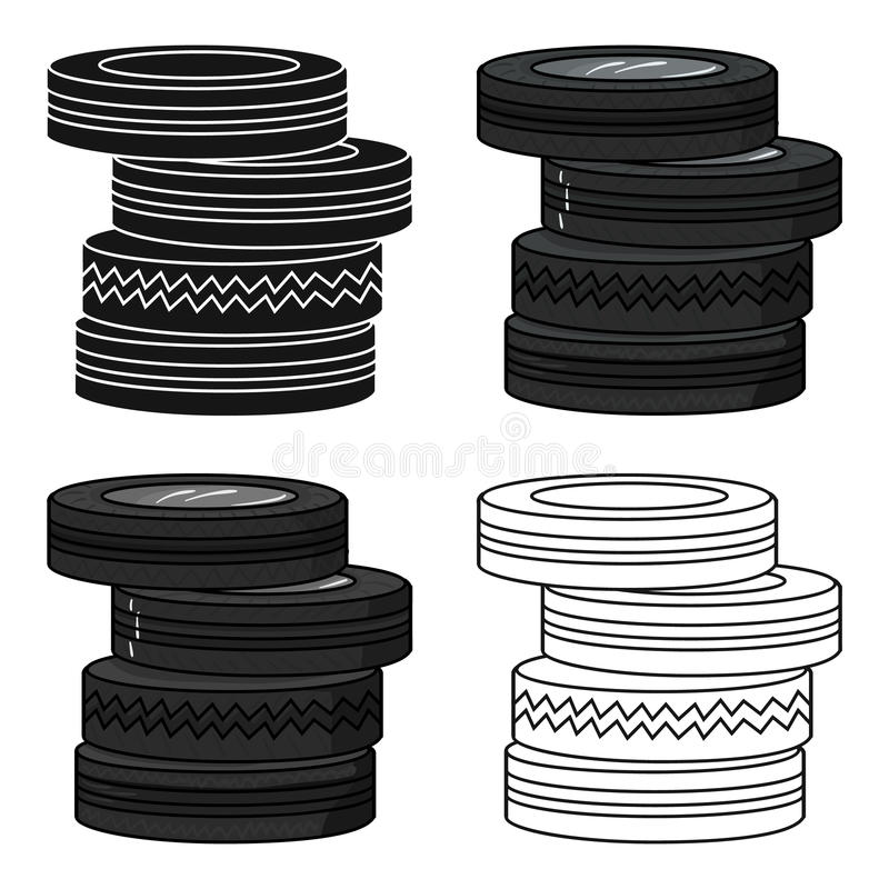 Barricade from tires icon in cartoon style isolated on white background. Paintball symbol stock vector illustration. royalty free illustration