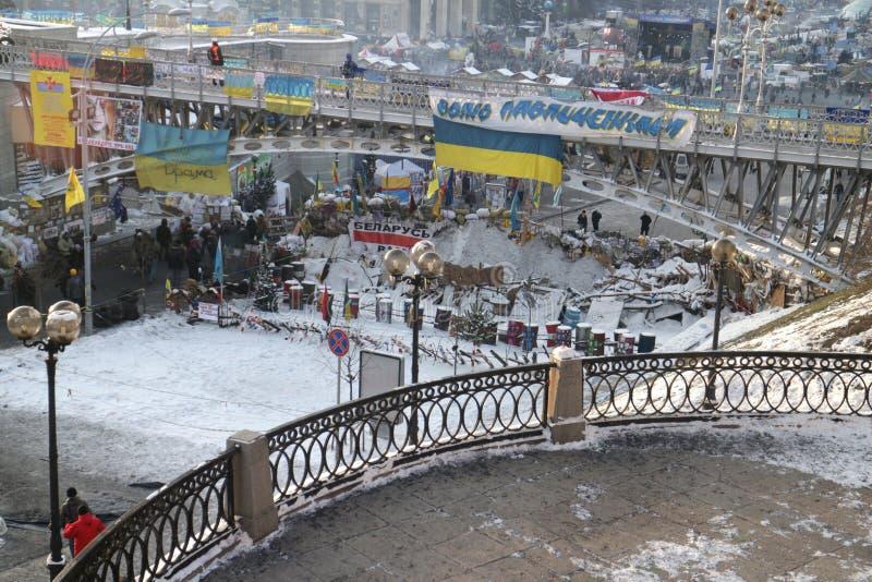 Barricades in de Instytutska-straat royalty-vrije stock afbeeldingen