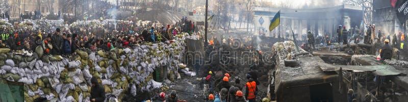 Barricades in de straat Hrushevskoho royalty-vrije stock foto