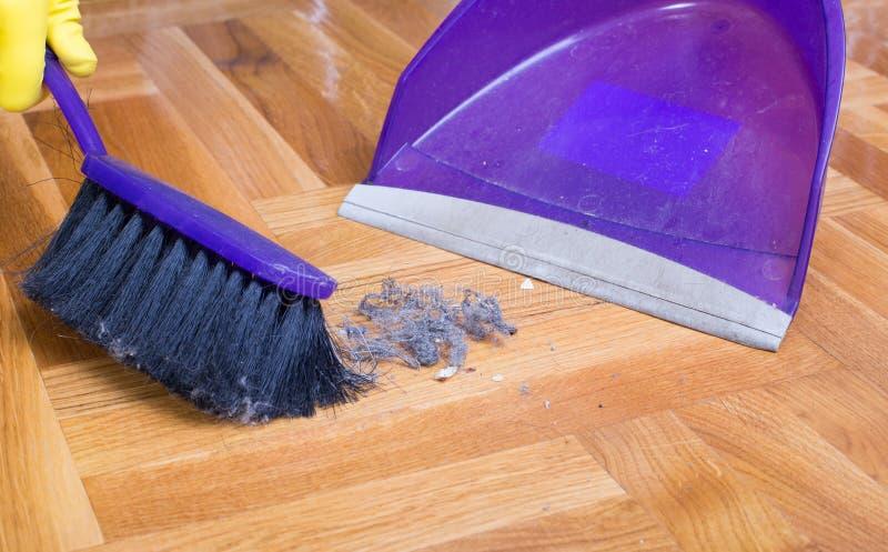 Barrido del encargado de casa con la cacerola del polvo fotografía de archivo