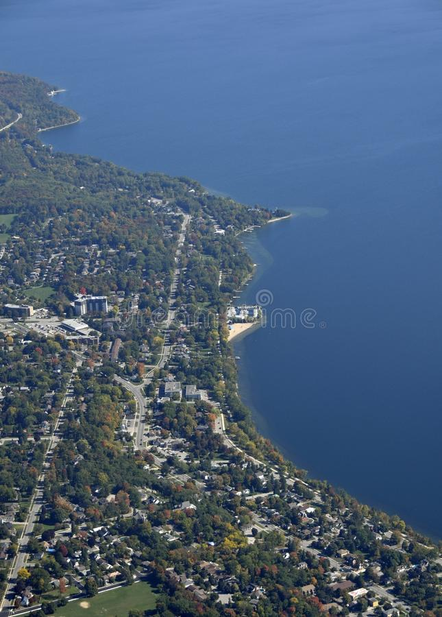 Barrie, aerial. Aerial view of the North shore in Barrie, Ontario Canada royalty free stock photography
