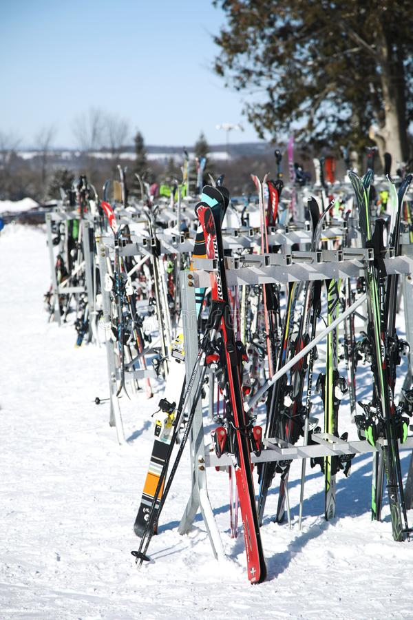 Barrie, Canada - January 8, 2017: A rack packed with skis and sn. Owboard equipment. Horseshoe resort, Barrie, Ontario, Canada stock photo