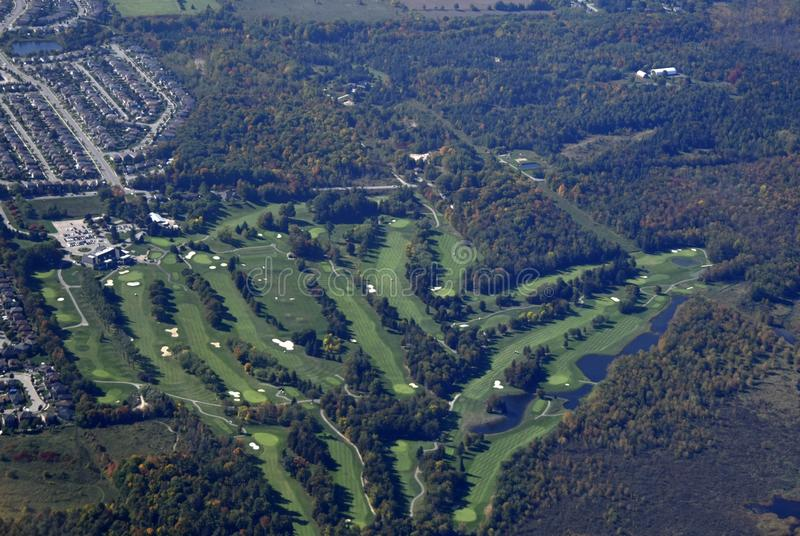 Barrie golf course aerial. Aerial view of a golf course in Barrie Ontario, Canada stock images