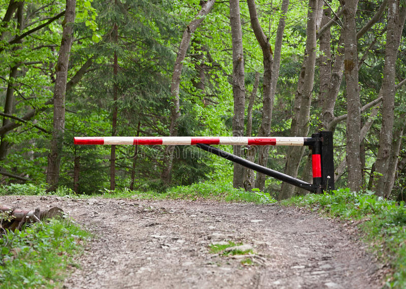 Download Barrier, Blocking The Road Into The Woods Stock Photo - Image: 25185166