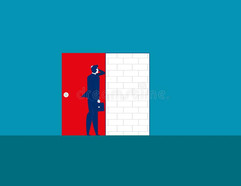 Barrier. Businessman with brick wall. Concept business vector il. Lustration. Prblem stock illustration