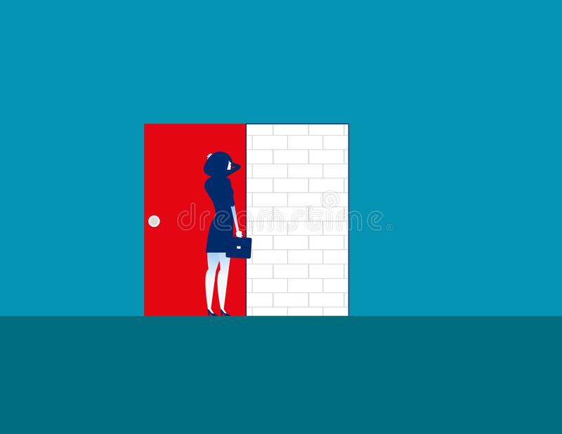 Barrier. Businesswoman with brick wall. Concept business vector. Illustration. Problem stock illustration