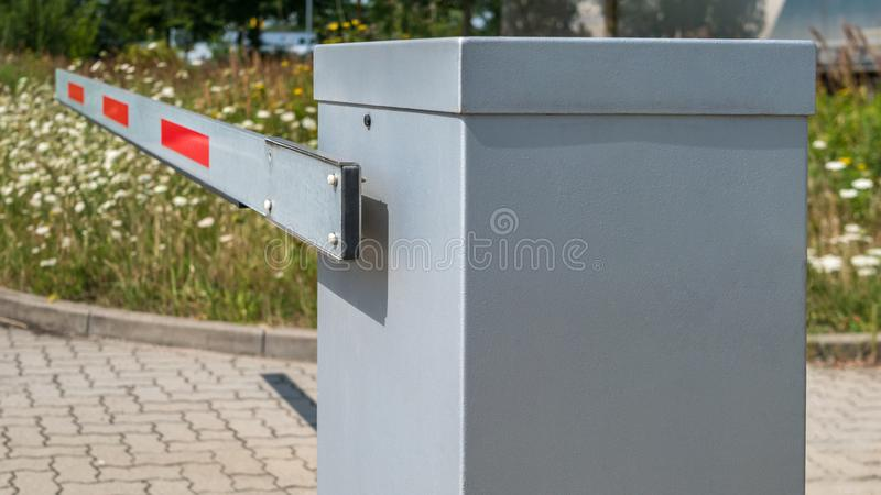 Barrier at a driveway or exit stock photos